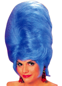 Beehive Blue Wig For Adults
