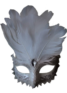 Carnivale Eye Mask White Silve For Masquerade