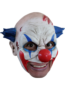 Clown Latex Mask W/ Blue Hair For Halloween