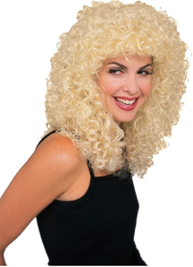 Curly Long Blonde Wig For Adults