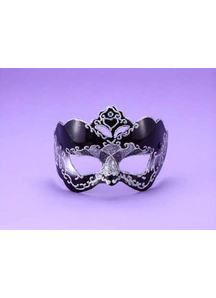 Half Style Mask Bk W Silver For Adults
