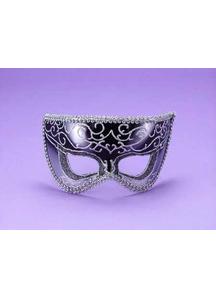Half Style Mask Bk W Slvr Trim For Adults