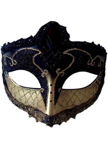 Mardi Gras Eye Mask Black Gold For Masquerade
