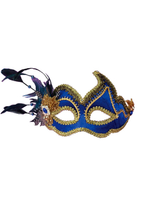 Masquerade Ven Mask Blue W Feathers