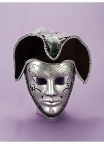 Masquerade Venetian Mask Silver & Black