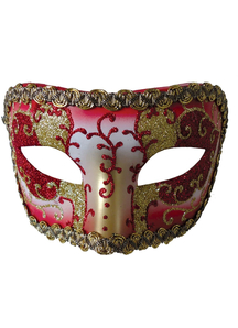 Medieval Opera Mask Red Gold For Masquerade