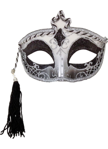 Tasseled Mardi Gras Mask Silver For Masquerade