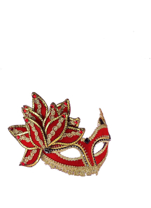 Ven Mask Red W Gold & Gem For Masquerade