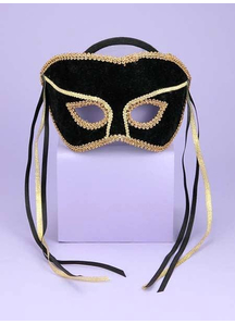 Venetian Couple Mask Swvl Bk/G For Adults